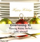Closeup of christmas placecard holders with plates and intencils