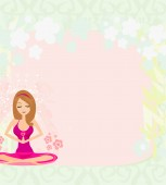 Yoga girl in lotus position ,abstract frame